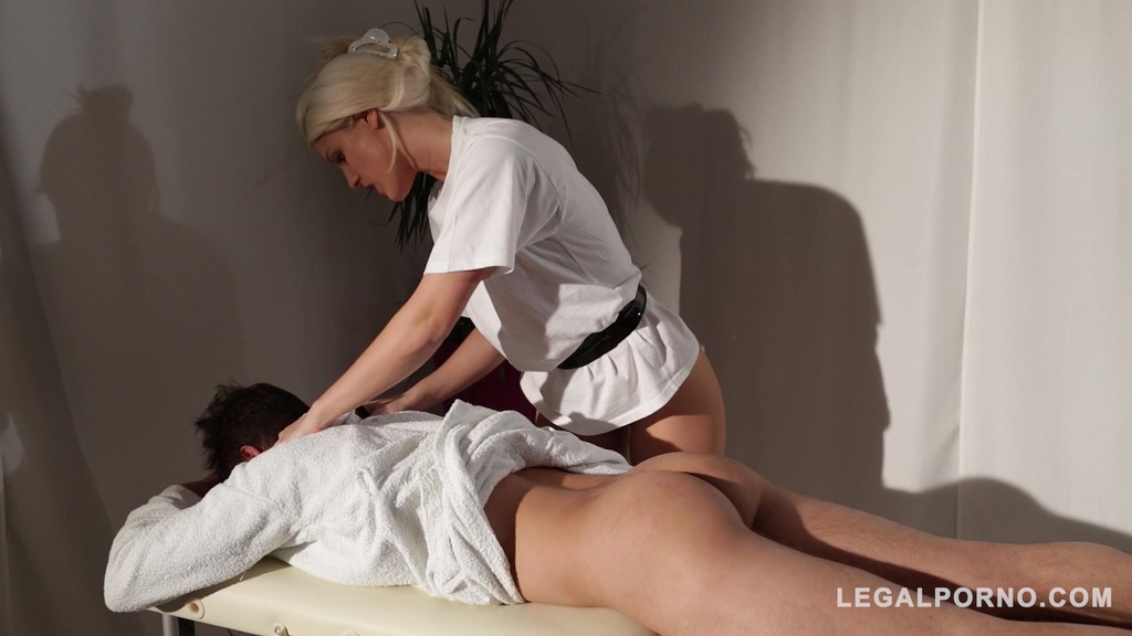 Voluptuous masseuse doMina K Medinatrix Blanche Bradburry humiliates & chokes young man GP599