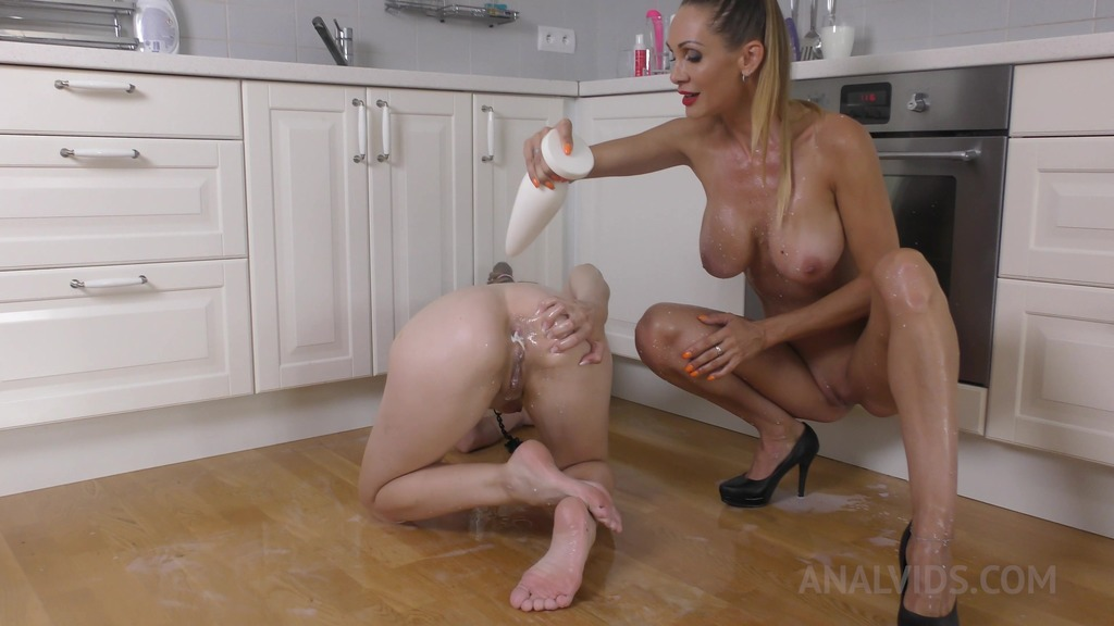 Submissive lesbian Timea Bella dominated by Cynthia Vellons (lesbian milk play) TB020