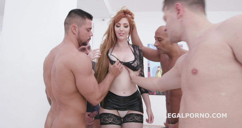 Manhandle, Lauren Phillips gets 4on1 rough sex with Balls Deep Anal, DAP, Gapes and Swallow GIO1270