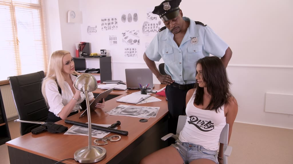 Naughty nymphos Lana Roy and Amber Jayne fuck a black cop's thick dark cock...