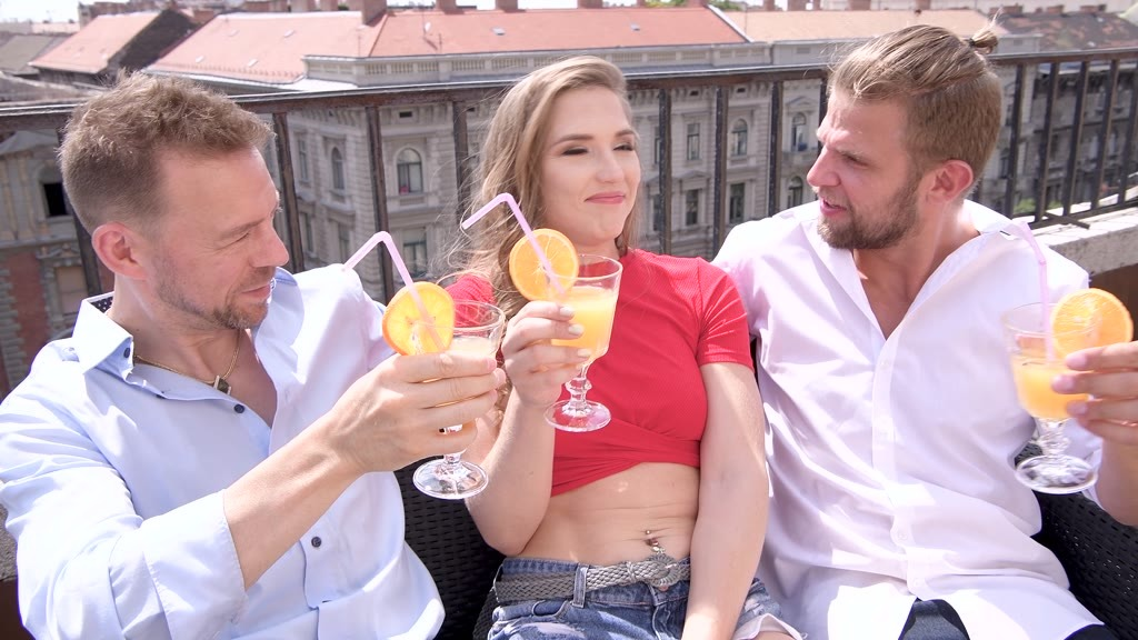 Dirty double penetration threesome with Nicole Pearl ends in messy facial GP1291