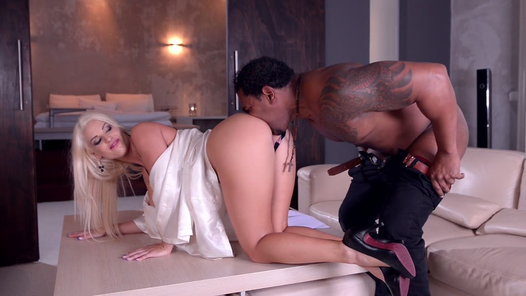 His enormous black monster cock makes Blanche Bradburry's asshole gape GP922