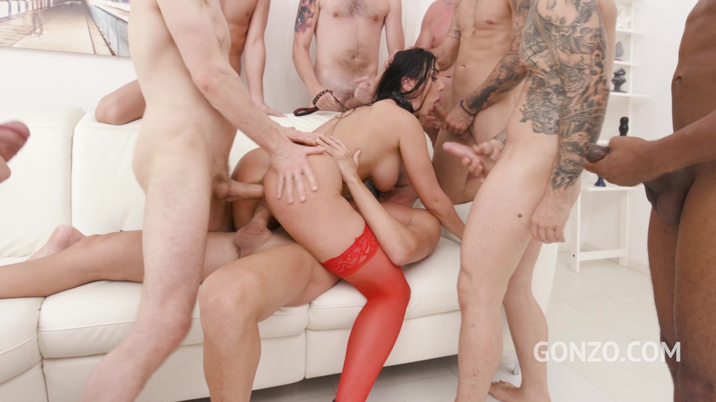 Lady Gang assfucked by 1, 2, 3, 4 guys and then gangbanged by all 10 of them with DP, DVP and Piss Drinking SZ2486