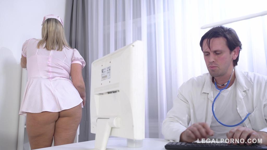Busty nurse Krystal Swift titty fucked