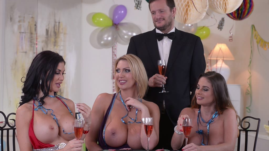 New Year's Eve group sex orgy with Cathy Heaven, Leigh Darby & Jasmine Jae GP1132