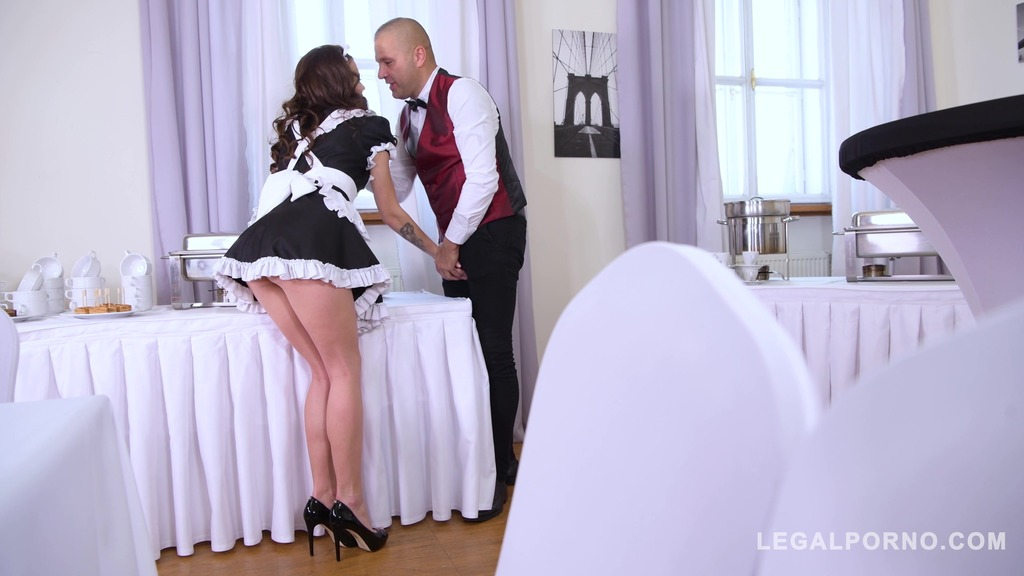 Hot XXX maid Verona's ass & pussy double penetrated by two horny studs GP748
