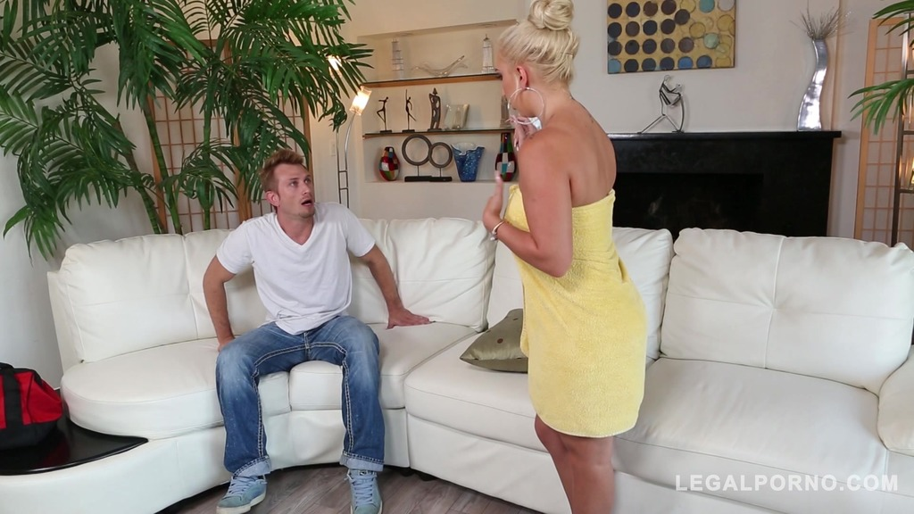 Sultry blondie Nina Kayy needs her tight asshole filled with big veiny cock...