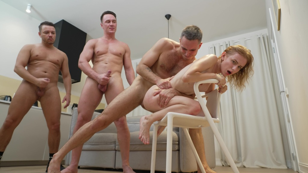 Skinny Schoolgirl Berlin went to the Men's hostel! Hard and First Double Penetration NRX135