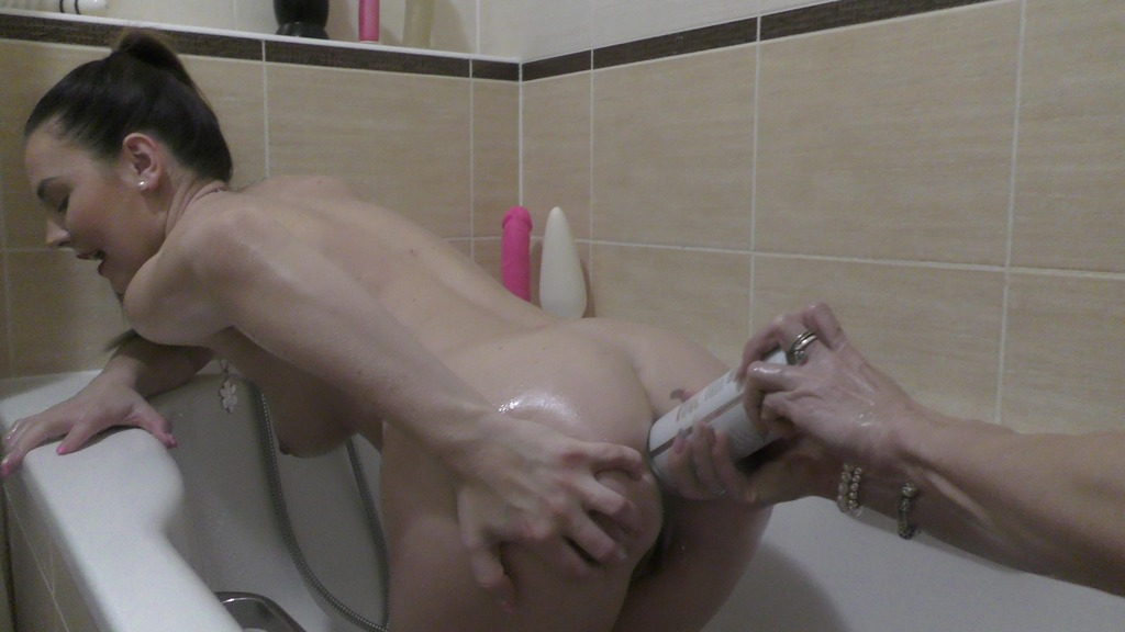 Naughty Cynthia Vellons pissing over Timea Bella, playing with whipped cream, huge toys and oiling body TB035