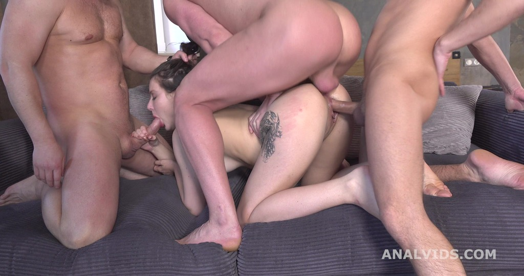 3on1 DP for Valletta Vesta, Balls Deep Anal, Gapes and Cum in Mouth GL197