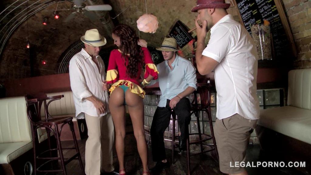 Sexy Latina waitress Katia De Lys craves orgasmic triple dick Salsa fuck GP133