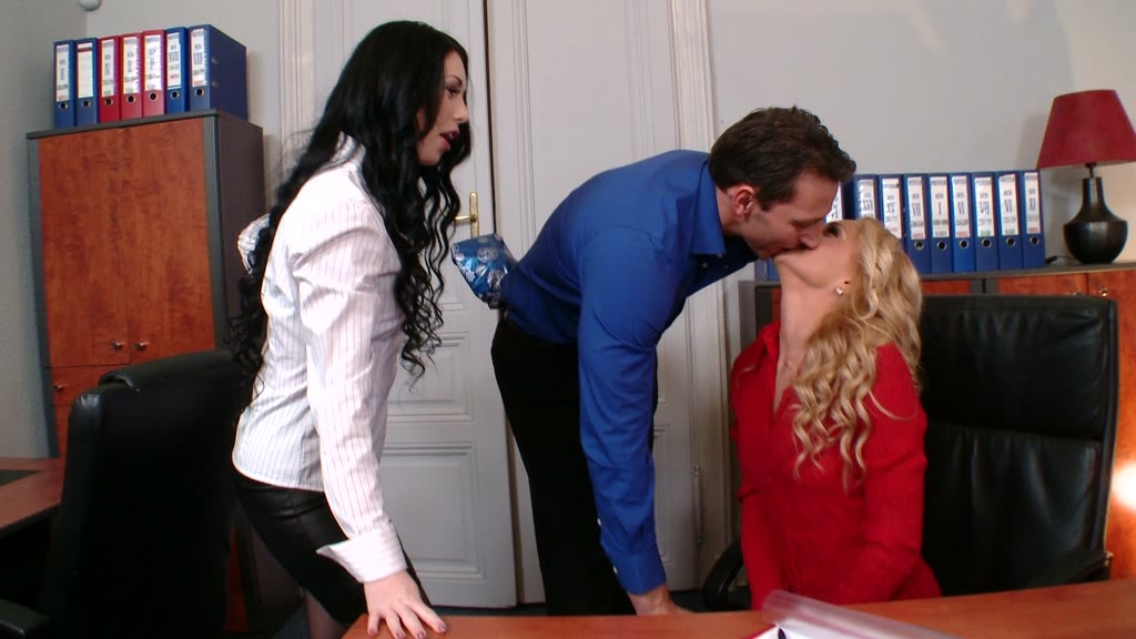 Long-legged secretary gets her asshole filled with cock & pussy with toy GP1124