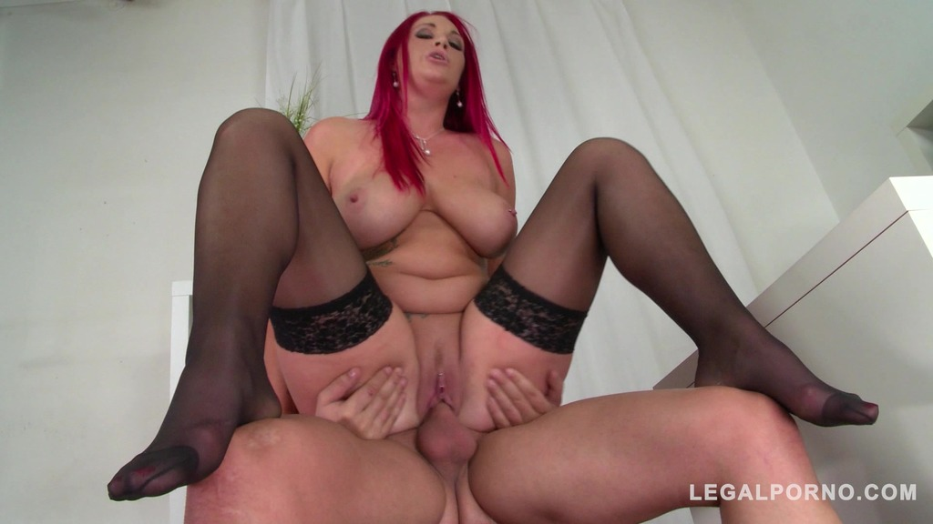 Busty Redhead Paige Delight gets her pierced wet pussy fucked balls deep GP815
