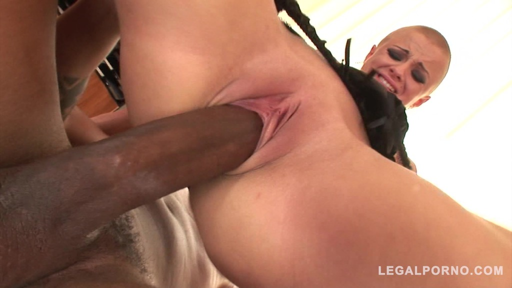 Wild shorthair vixen C.J. deep throats and rides big black monster cock GP189