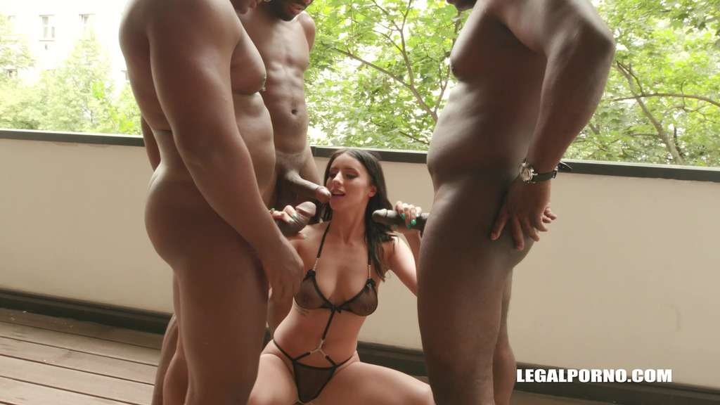 Young cutie Nelly Kent is coming to face four black bulls and gets double...