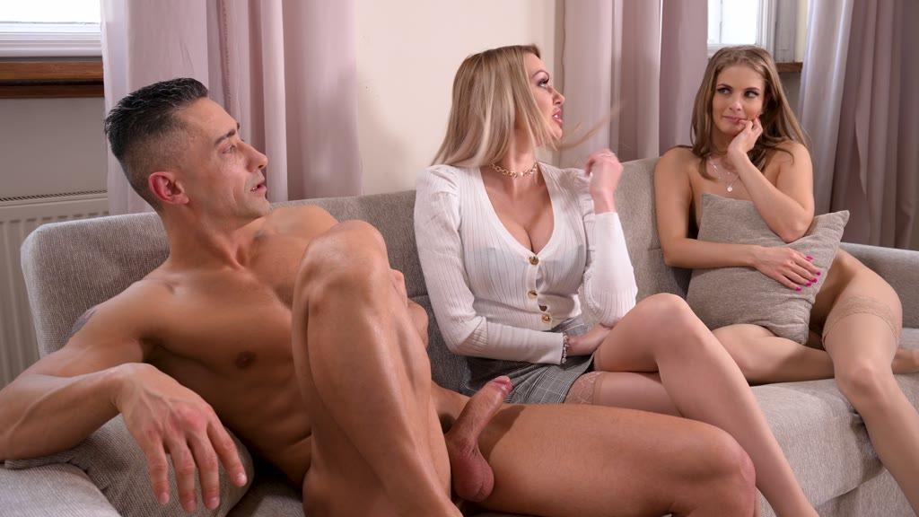 Exxxciting office threesome with legendary Milf Amber Jayne & Cayenne Klein...