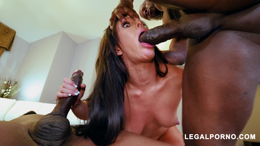 Sexy slut Jennifer White takes two big black cocks AB009