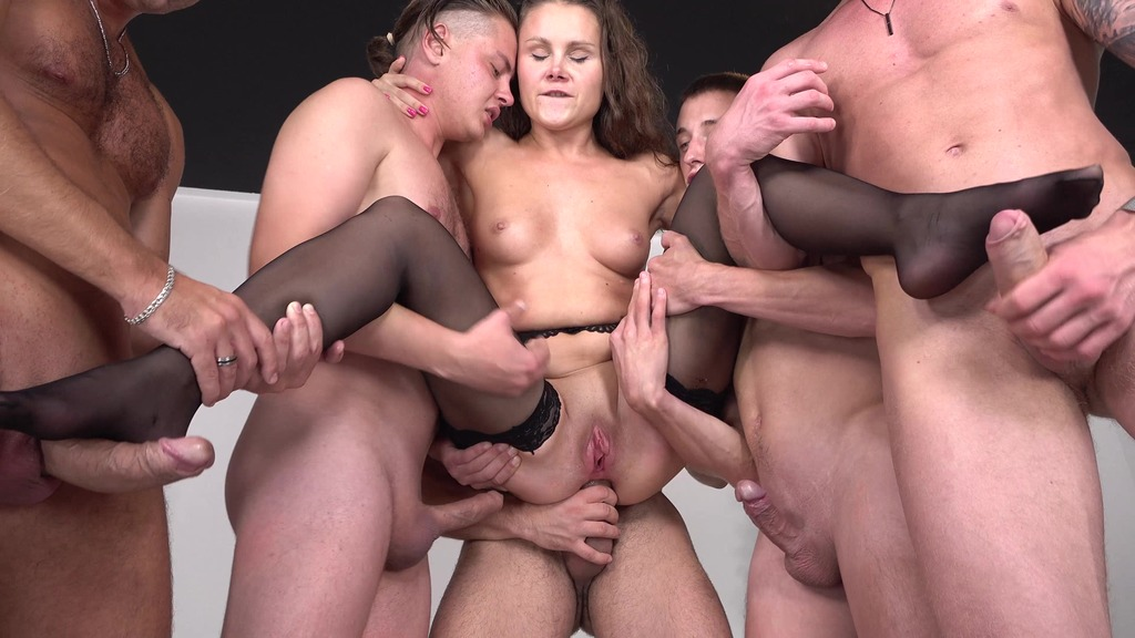 First Gangbang Liza Shay VS 5 Cocks - BIG PISSING - Piss in Mouth + Drink Piss - Hard Anal Fuck VK104