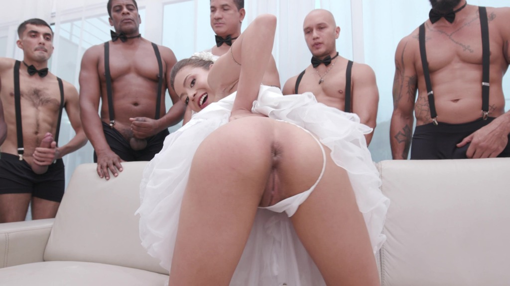 Polly Petrova celebrates her bachelorette party getting fucked by seven big cocks doing double anal and DP