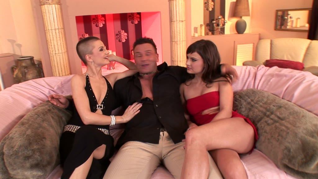 Abbie Cat and bald babe C.J. lick pussy and ride cock together in threesome GP1205