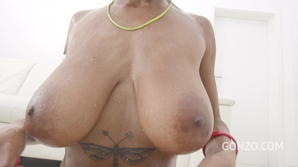 Busty black slut Tina Fire returns to Gonzo for hot DP and Piss Drinking SZ2752