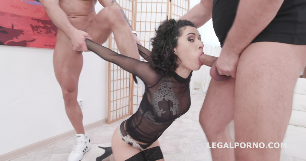 Manhandle Stacy Bloom 4on1 Rough Sex Balls Deep Anal, Gapes, DAP and Swallow...