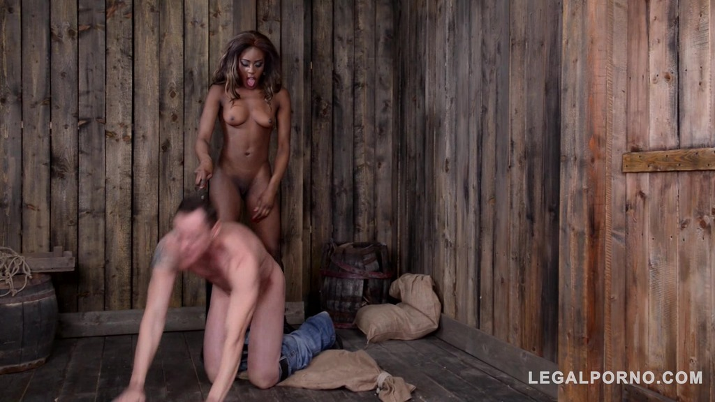 Black doMina K Medina Maria Ryder humiliates dude in handcuffs until he squirts GP581
