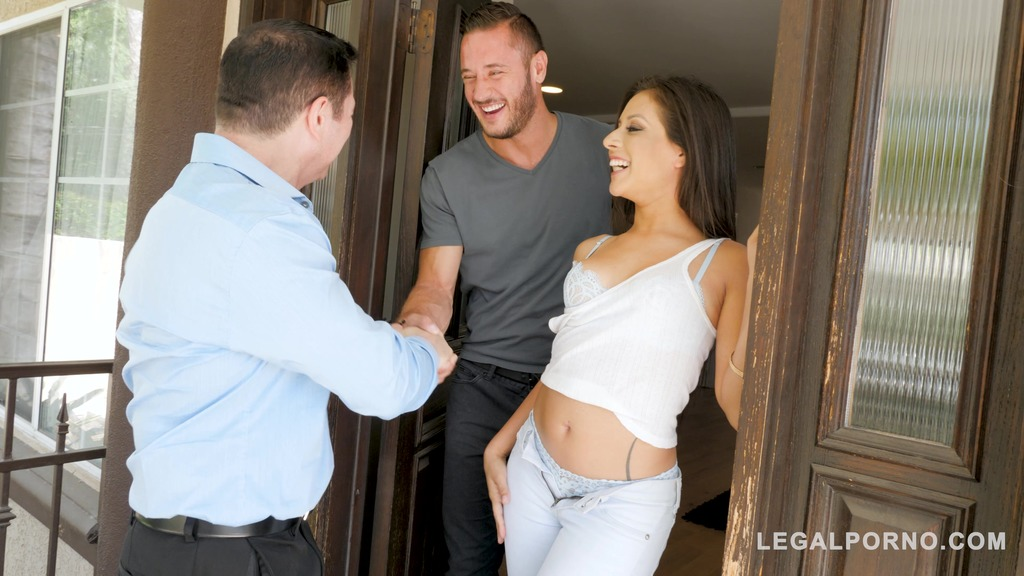 Father and son give sexy pornstar Jynx Maze's shaved pussy a good pounding GP419