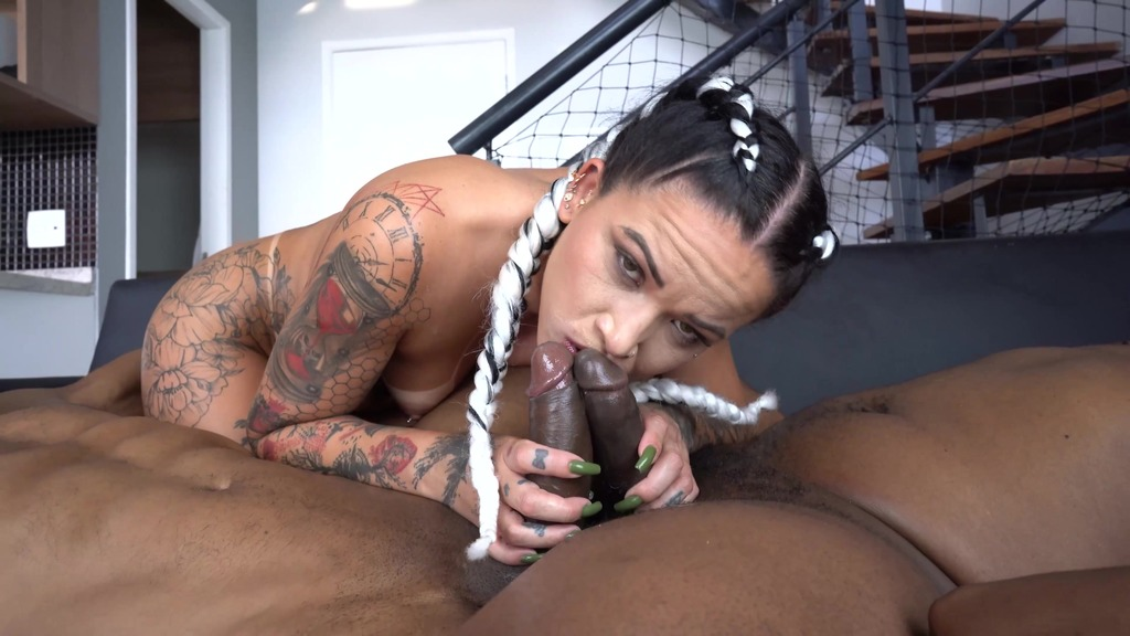 Agatha Reis double penetrated by 2 big black cocks - UNCUT version (BBC, vomit, balls deep, puke, dirty talk) OB014
