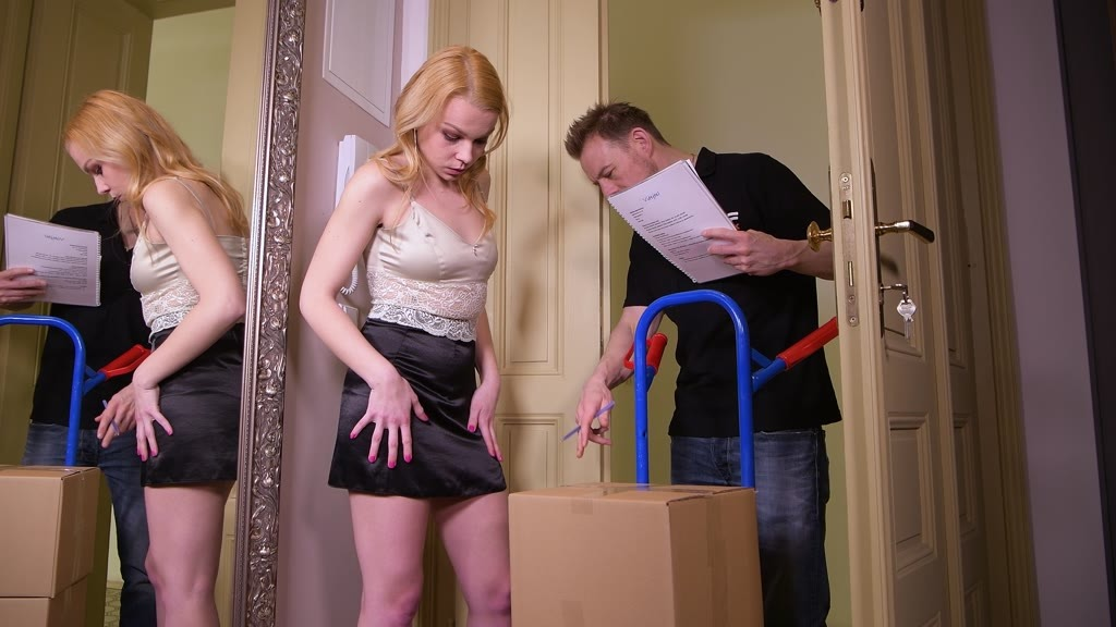 Delivery guy crams young bombshell Rebecca Sharon's tight ass with fat cock...