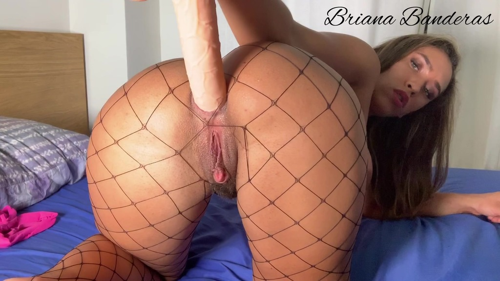 Kitty slut with tail butt plug fuck pussy and ass with huge dildo BRB067