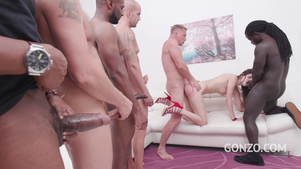 Lina Luxa assfucked by 1, 2, 3, 4 guys and then gangbanged by all 10 of them...