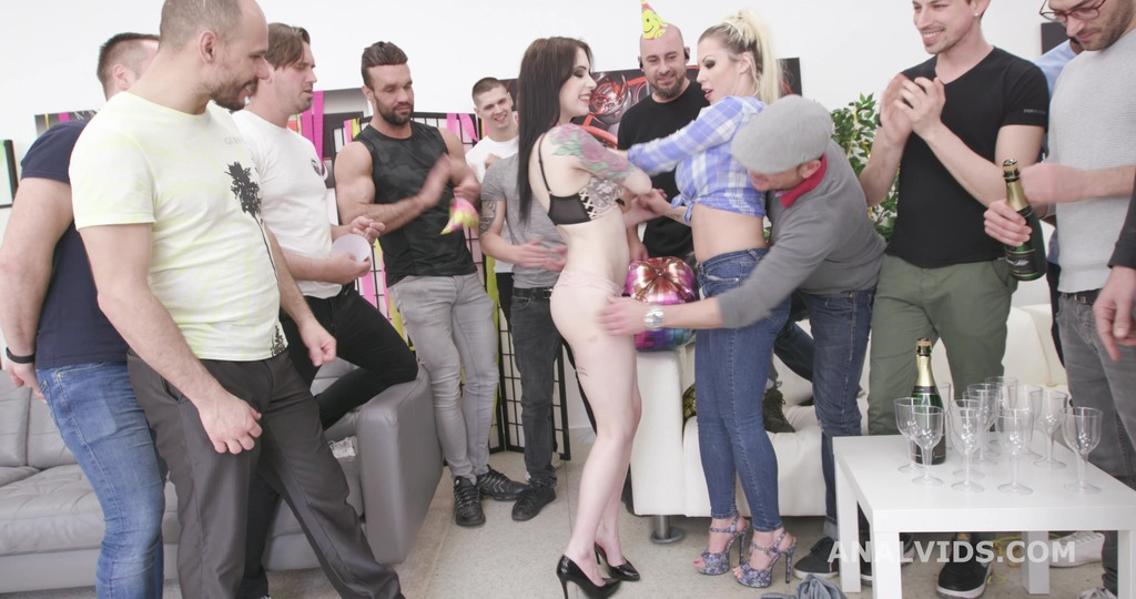 Happy B-day #1, Anna de Ville gets the presents and has fun with Barbie Sins, DAP, Gapes, ButtRose and Creampie Swallow GIO1831