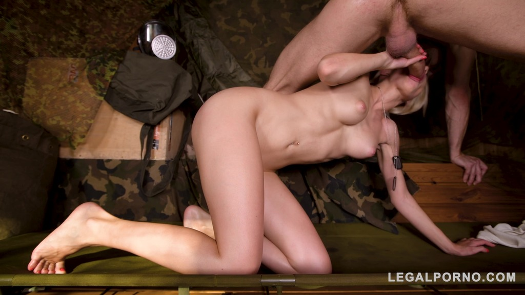 Ever-horny soldier Olivia Sin foot fucked until cumshot at hidden army base...