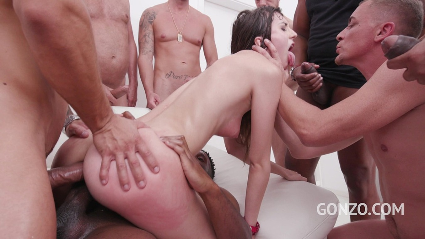 Lina Luxa in Lina Luxa assfucked by 1, 2, 3, 4 guys and then gangbanged by all 10 of them with DP, DAP & cum swallow SZ2284