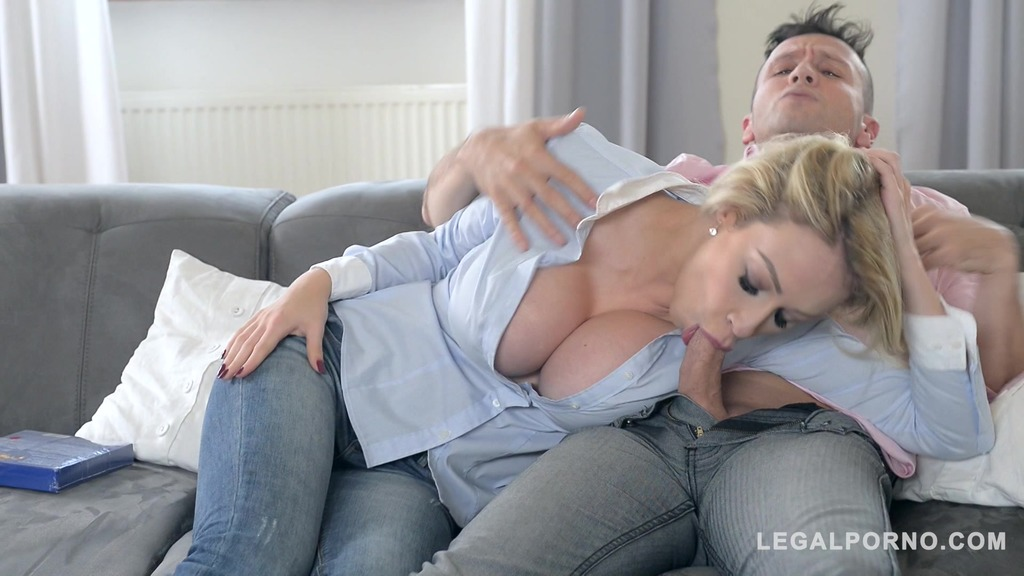 Two dudes bang leggy busty blondie Chessie Kay