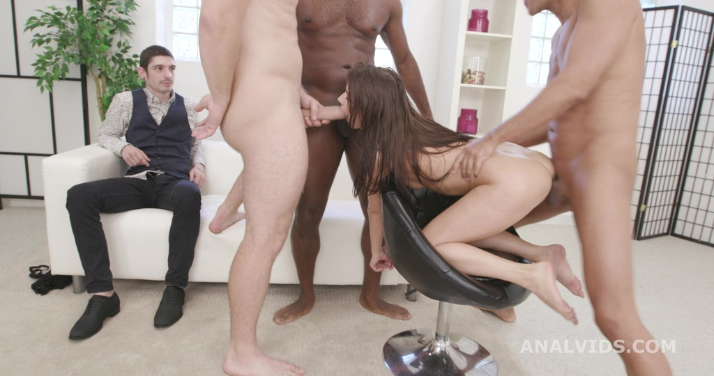 Cuckold Dream, Nicole Black gets the point with 3 Big Dicks for Balls Deep Anal, DAP, Gapes and Facial GIO1577