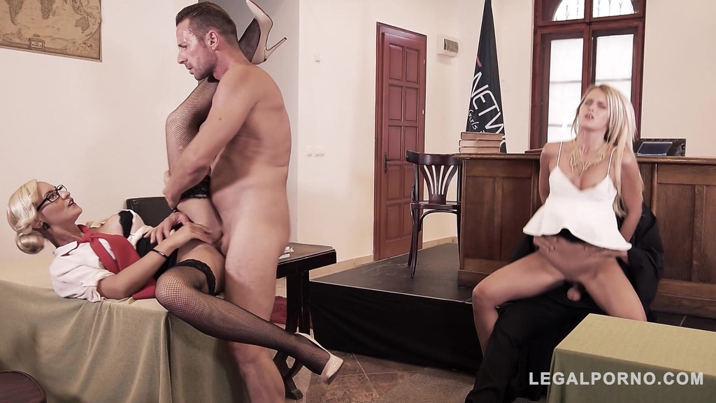 Sexy Lawyer Helena Valentine negotiates DP at XXX Court