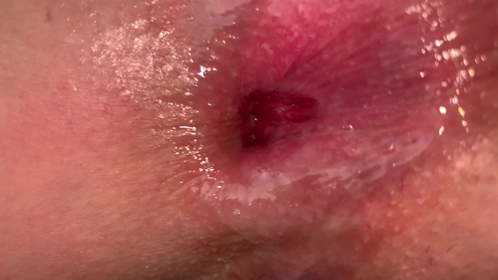 Close up anal fucking and cum on gape CM080