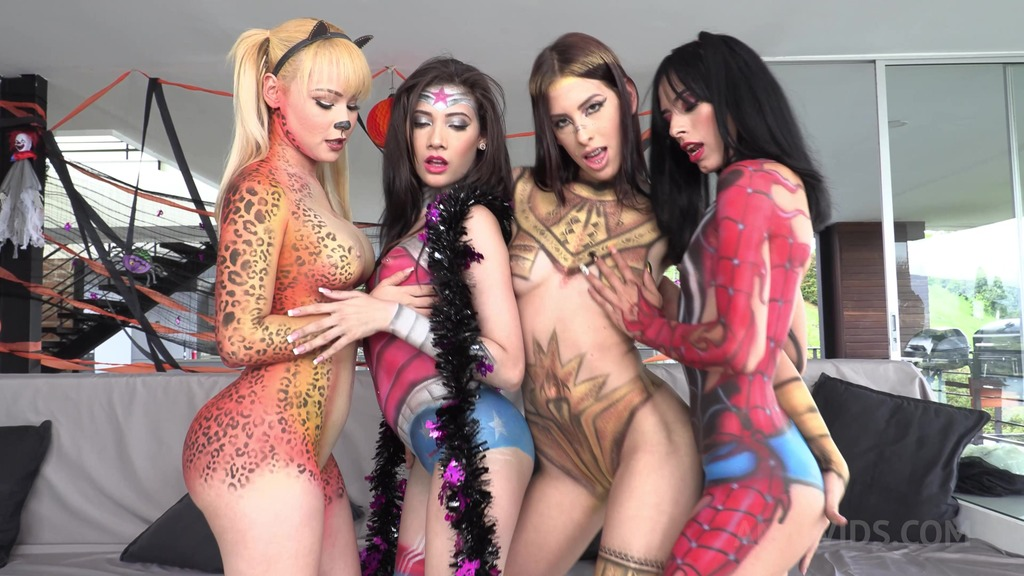 Happy Halloween from Natasha Teen productions! Hot Orgy with Natasha Teen, Emily Pink, Daniela Ortiz & Alicia Trece NT041
