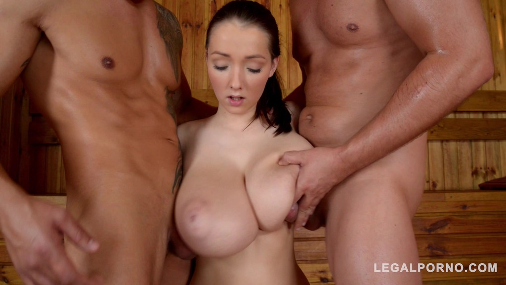 Big natural titties of Lucie Wild get jizzed all over in sauna threesome GP557