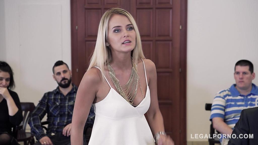 Sexy lawyer Helena Valentine negotiates DP at court with horny babe Aisha GP362