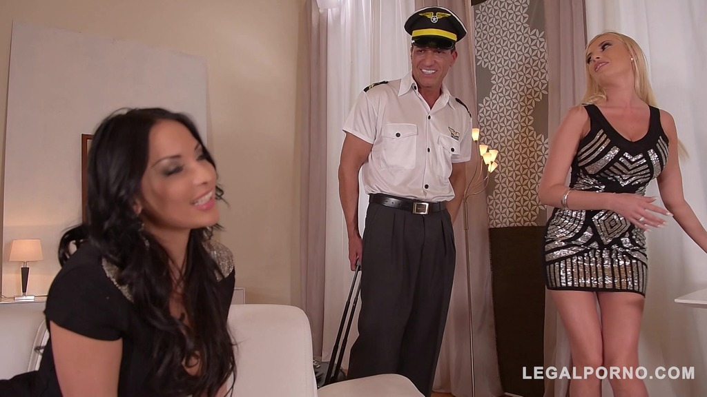 Busty babes Donna Bell & Anissa Kate share pilot's big dick