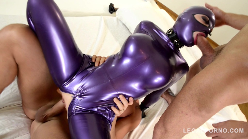 Mind-bending fetish threesome shows Latex Lucy swallow & fuck two big cocks...