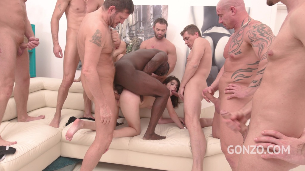 Sara Bell assfucked by 1, 2, 3, 4 guys and then gangbanged by all 10 of them SZ2381