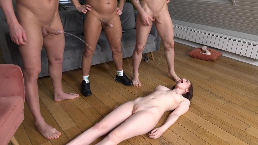 Full piss on Jessie Way when she's lying down! Drinks Pee Of Three Hard Dicks ( DAP, hard, spitting, slapping ) NRX105