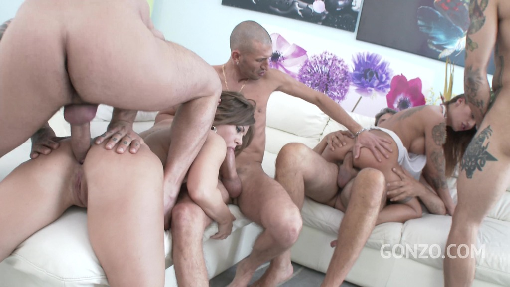 Sasha Zima & Silvia Dellai 4on2 mini orgy with DP, DAP & double pussy SZ1758