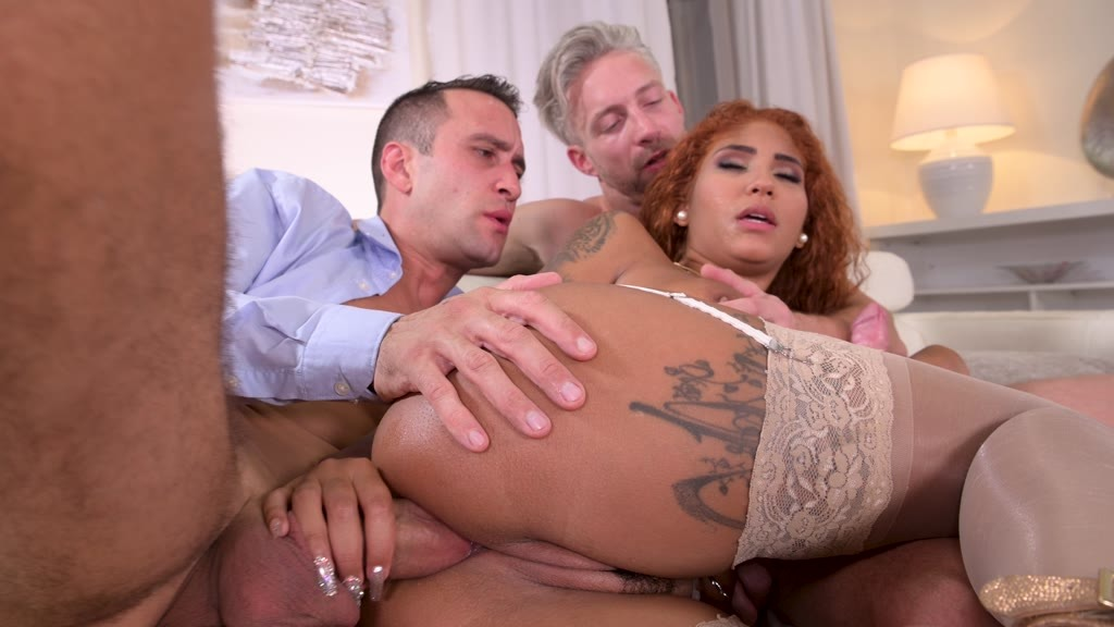 Sexy Latina Venus Afrodita gets busy with two cocks for her horny holes GP1409