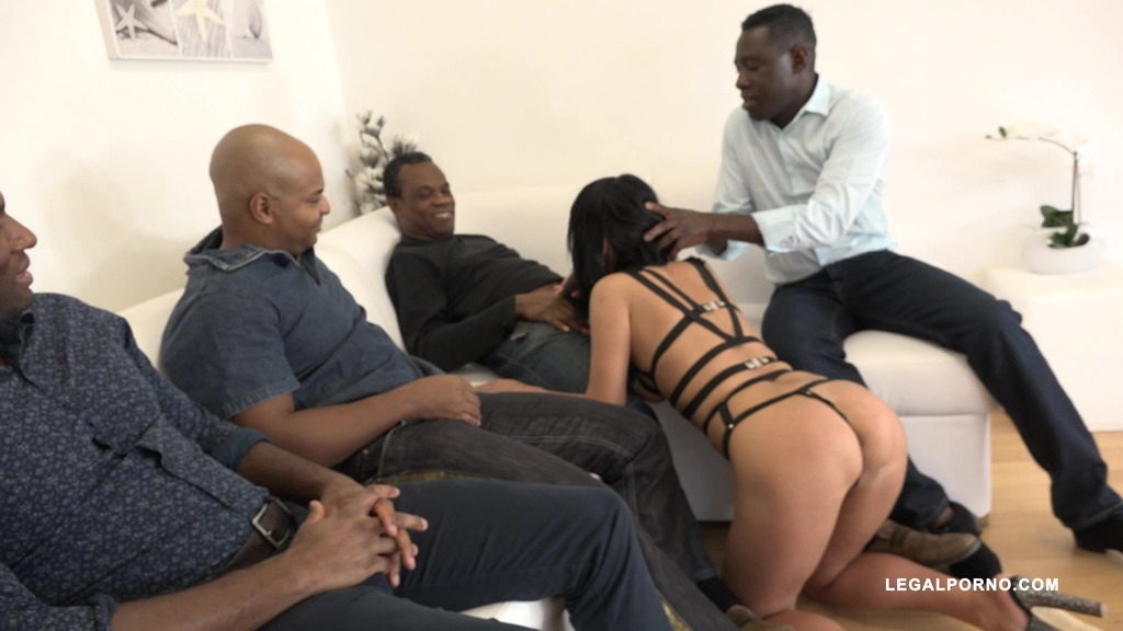 Angie Moon is back to face 4 black bulls & receive hardcore double anal IV111
