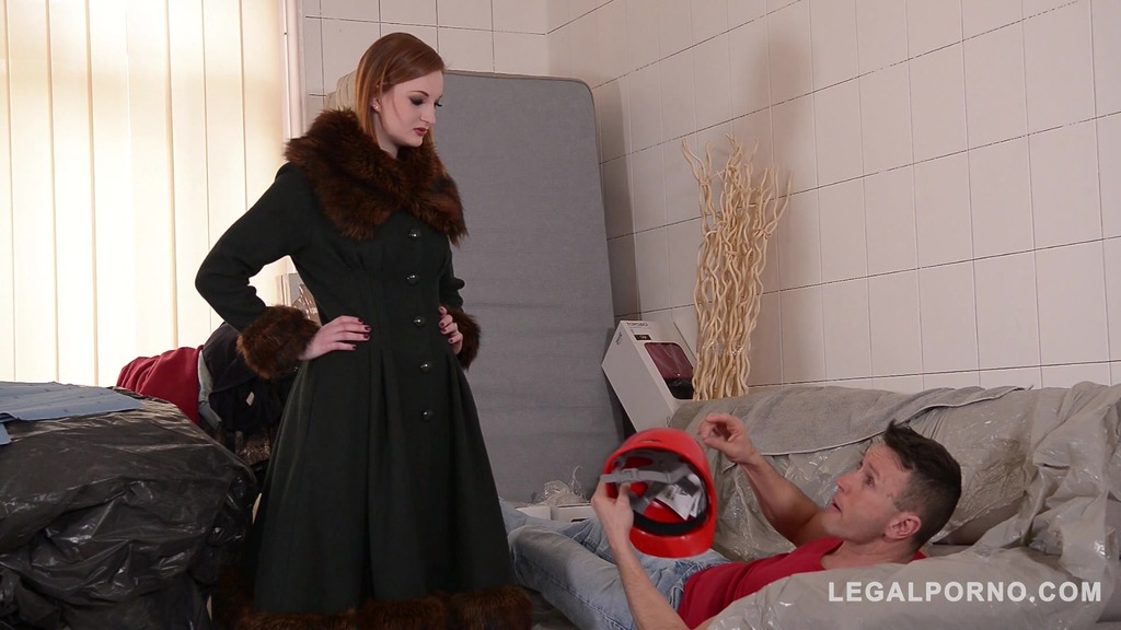 Redhead latex mistress Zara Durose dominates submissive tiler in BDSM porn GP428
